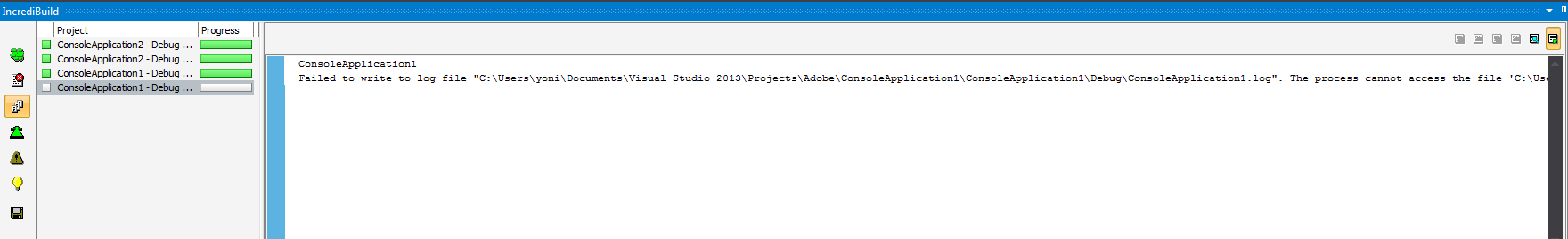 """Incredi8uiId  Project  ConsoleAppIicabon2 - Debug  ConsoleAppIicaton2-Debug .  ConsoleAppIicatonI - Debug  Progress  Con s LeApp L at 1  Failed to write to log file  Studio _ log"""" _  The s s  the file"""